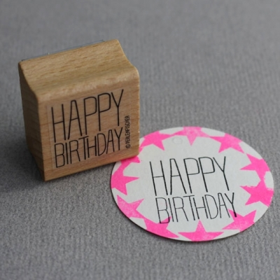 Perlenfischer Stempel Typografie Happy Birthday Block